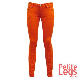 Zara Crinkle Skinny Jeans in Vibrant Orange | UK Size 10/12 | Petite Leg Inseam Select: 24 - 27.5 inches